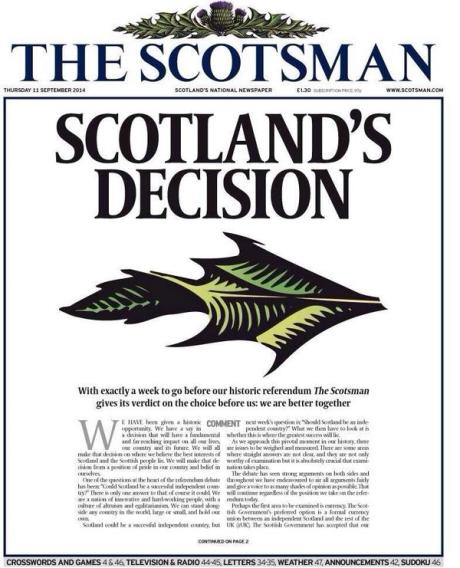 Front page of The Scotsman 11th of September 2014